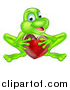 Vector Illustration of a Cartoon Happy Green Frog Crouching and Holding a Glassy Red Heart by AtStockIllustration
