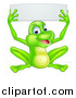 Vector Illustration of a Cartoon Happy Green Frog Holding up a Blank Sign by AtStockIllustration