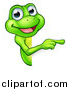 Vector Illustration of a Cartoon Happy Green Frog Mascot Pointing Around a Sign by AtStockIllustration
