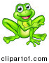 Vector Illustration of a Cartoon Happy Green Frog Mascot Sitting and Pointing by AtStockIllustration