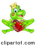 Vector Illustration of a Cartoon Happy Green Frog Prince with a Liptstick Kiss on His Cheek, Holding a Red Glass Love Heart by AtStockIllustration
