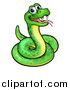 Vector Illustration of a Cartoon Happy Green Snake by AtStockIllustration