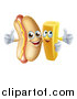 Vector Illustration of a Cartoon Happy Hot Dog Mascot and French Fry Character Giving Thumbs up by AtStockIllustration