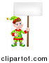 Vector Illustration of a Cartoon Happy Male Christmas Elf Giving a Thumb up and Holding a Blank Sign by AtStockIllustration