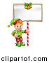Vector Illustration of a Cartoon Happy Male Christmas Elf Giving a Thumb up and Holding a Blank Sign with Bells by AtStockIllustration