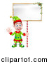 Vector Illustration of a Cartoon Happy Male Christmas Elf Waving and Holding a Blank Sign by AtStockIllustration