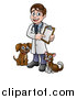 Vector Illustration of a Cartoon Happy May Veterinarian Holding a Chart and Standing with a Dog and Cat by AtStockIllustration
