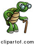 Vector Illustration of a Cartoon Happy Old Tortoise Walking with a Cane by AtStockIllustration