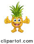 Vector Illustration of a Cartoon Happy Pineapple Mascot Character Giving Two Thumbs up by AtStockIllustration
