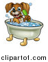 Vector Illustration of a Cartoon Happy Puppy Dog Holding a Brush and Soaking in a Bubble Bath by AtStockIllustration
