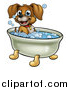 Vector Illustration of a Cartoon Happy Puppy Dog Soaking in a Bubble Bath by AtStockIllustration
