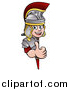Vector Illustration of a Cartoon Happy Roman Soldier Giving a Thumb up Around a Sign by AtStockIllustration