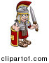 Vector Illustration of a Cartoon Happy Roman Soldier Giving a Thumb Up, Holding a Sword and Leaning on a Shield by AtStockIllustration