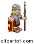 Vector Illustration of a Cartoon Happy Roman Soldier Holding a Spear, Leaning on a Shield and Giving a Thumb up by AtStockIllustration