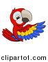 Vector Illustration of a Cartoon Happy Scarlet Macaw Parrot Pointing Around a Sign by AtStockIllustration