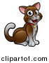 Vector Illustration of a Cartoon Happy Sitting Brown and White Cat by AtStockIllustration
