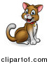 Vector Illustration of a Cartoon Happy Sitting Brown and White Kitty Cat by AtStockIllustration