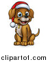 Vector Illustration of a Cartoon Happy Sitting Christmas Puppy Dog Wearing a Santa Hat by AtStockIllustration