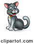 Vector Illustration of a Cartoon Happy Sitting Gray and White Kitty Cat by AtStockIllustration
