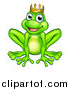 Vector Illustration of a Cartoon Happy Smiling Green Frog Prince by AtStockIllustration