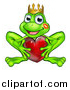 Vector Illustration of a Cartoon Happy Smiling Green Frog with a Liptstick Kiss on His Cheek, Holding a Red Heart by AtStockIllustration