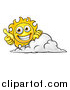 Vector Illustration of a Cartoon Happy Sun Character Holding a Thumb up over a Cloud by AtStockIllustration