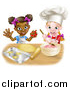 Vector Illustration of a Cartoon Happy White and Black Girls Making Pink Frosting and Star Shaped Cookies by AtStockIllustration