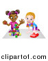 Vector Illustration of a Cartoon Happy White and Black Girls Sitting on the Floor, Painting and Playing with Blocks by AtStockIllustration