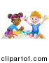 Vector Illustration of a Cartoon Happy White Boy and Black Girl Painting Artwork by AtStockIllustration