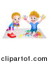 Vector Illustration of a Cartoon Happy White Boy Kneeling and Finger Painting Artwork and Girl Playing with a Toy Car by AtStockIllustration