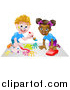 Vector Illustration of a Cartoon Happy White Boy Kneeling and Painting Artwork and a Black Girl Playing with a Toy Car by AtStockIllustration