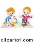 Vector Illustration of a Cartoon Happy White Boy Kneeling and Painting Artwork and Girl Playing with Toy Blocks by AtStockIllustration