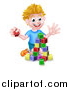 Vector Illustration of a Cartoon Happy White Boy Playing with Toy Blocks by AtStockIllustration