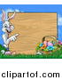 Vector Illustration of a Cartoon Happy White Easter Bunny Rabbit Pointing Around a Wood Sign with a Basket and Eggs Against Sky by AtStockIllustration