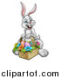 Vector Illustration of a Cartoon Happy White Easter Bunny Rabbit with a Basket and Eggs by AtStockIllustration