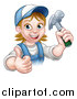 Vector Illustration of a Cartoon Happy White Female Carpenter Holding a Hammer and Giving a Thumb up by AtStockIllustration