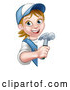 Vector Illustration of a Cartoon Happy White Female Carpenter Holding a Hammer Around a Sign by AtStockIllustration