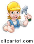Vector Illustration of a Cartoon Happy White Female Carpenter Holding up a Hammer and Giving a Thumb up by AtStockIllustration