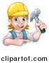 Vector Illustration of a Cartoon Happy White Female Carpenter Holding up a Hammer and Pointing by AtStockIllustration