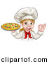 Vector Illustration of a Cartoon Happy White Female Chef Gesturing Perfect and Holding a Pizza by AtStockIllustration