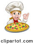 Vector Illustration of a Cartoon Happy White Female Chef Gesturing Perfect and Holding up a Pizza by AtStockIllustration