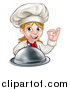 Vector Illustration of a Cartoon Happy White Female Chef Holding a Cloche Platter and Gesturing Ok by AtStockIllustration