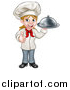 Vector Illustration of a Cartoon Happy White Female Chef Holding a Cloche Platter and Giving a Thumb up by AtStockIllustration