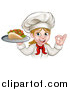 Vector Illustration of a Cartoon Happy White Female Chef Holding a Kebab on a Tray and Gesturing Perfect by AtStockIllustration