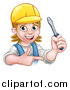 Vector Illustration of a Cartoon Happy White Female Electrician Wearing a Hardhat, Holding up a Screwdriver and Pointing by AtStockIllustration