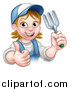 Vector Illustration of a Cartoon Happy White Female Gardener in Blue, Holding a Garden Fork and Giving a Thumb up over a Sign by AtStockIllustration
