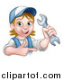 Vector Illustration of a Cartoon Happy White Female Mechanic Holding up a Wrench and Pointing by AtStockIllustration