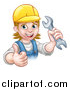 Vector Illustration of a Cartoon Happy White Female Mechanic Wearing a Hard Hat, Holding up a Wrench and Giving a Thumb up by AtStockIllustration
