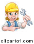 Vector Illustration of a Cartoon Happy White Female Mechanic Wearing a Hard Hat, Holding up a Wrench and Pointing by AtStockIllustration