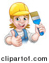 Vector Illustration of a Cartoon Happy White Female Painter Holding up a Brush and Giving a Thumb up by AtStockIllustration